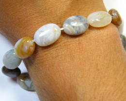 NATURAL AGATE BEADS STRAND 92.50 CARATS AAA 2690