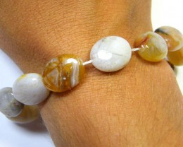 NATURAL  AGATE BEADS STRAND 113 CARATS AAA 2696