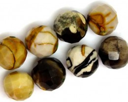 PETRIFIED WOOD BEADS, (8 PC) 57 CTS  NP-1185