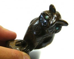 HAND CARVED AUSSIE  IRONSTONE   OWL        AAA 2644