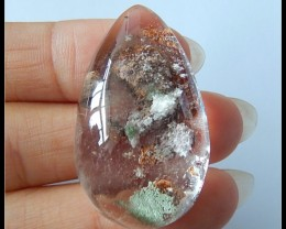 Natural Lodolite Quartz Gemstone Cabochon,Large Size,70.5ct