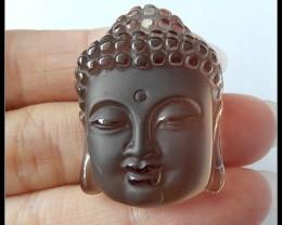 92.5Ct Natural Smoky Quartz Gemstone Buddha Head Pendant Bead