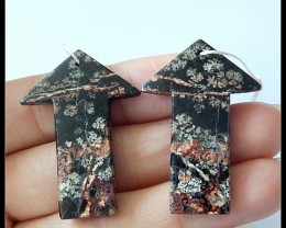 39Ct Natural Snow Obsidian Arrow Earring Beads
