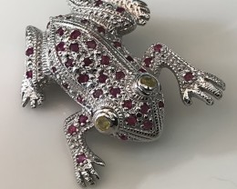 Fabulous Ruby Sapphire Frog Brooch Sterling Silver