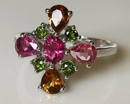 FINE TOURMALINE  STERLING SILVER RING SIZE 7