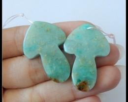 45.5Ct Natural Chrysocolla Gemstone Earring Beads,Speical Heart Shape Gemst