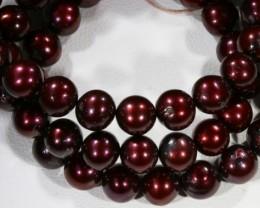 Magenta  Round Natural Pearl strand  GOGO 780