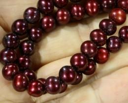 Magenta  Round  Natural Pearl strand  GOGO781
