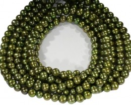 Three Olive semi round Natural Pearl strand  GOGO 644