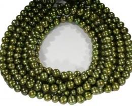 Three Olive semi round Natural Pearl strand  GOGO 644