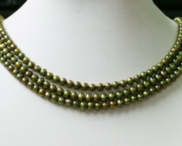 Three Olive Semi round   Natural Pearl strand  GOGO 796
