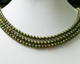Three Olive Semi round   Natural Pearl strand  GOGO 796