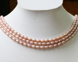 Three Pink oval Natural Pearl strand  GOGO 803