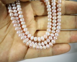 Three Pink 4 mm round Natural Pearl strands  GOGO 807