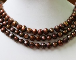 Three 9 mm  Chocolate Baroque Natural Pearl strands  GOGO 638