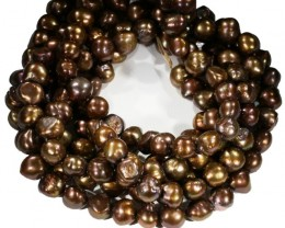 Three 9 mm Chocolate baroque Natural Pearl strands  GOGO 809