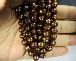 Three 9 mm Chocolate baroque Natural Pearl strands  GOGO 810