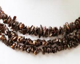 Three 9 mm Chocolate Keshi Natural Pearl strands  GOGO 813