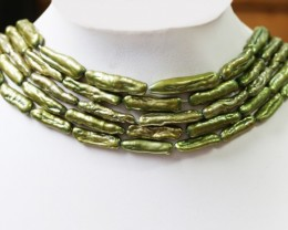 5x Olive stick  Natural Pearl strands  GOGO 661