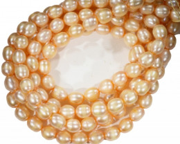 Three Apricot -Pink Oval  Natural Pearl strand  GOGO 832