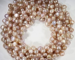 Three Pink Tip drill Natural Pearl strand  GOGO 838