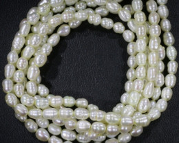 Three White Tip drill Oval Natural Pearl strand  GOGO 841