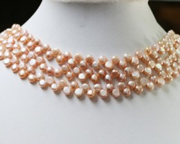 Three pink Button Natural Pearl strands  GOGO 853