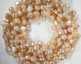 Three pink Button Natural Pearl strands  GOGO 854
