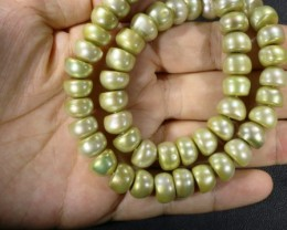 Pistacho Large Button Natural Pearl strand  GOGO 859