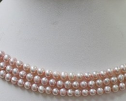 Three Pink Semi round 5mm Natural Pearl strands  GOGO 662