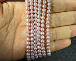 Three Pink Semi round 5mm Natural Pearl strands  GOGO 873