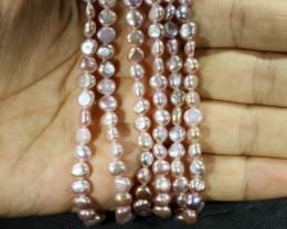Three Pink baroque 6x4mm   Natural Pearl strand  GOGO 902