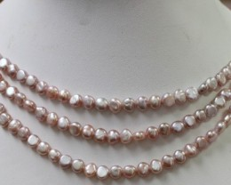 Three Pink baroque 6x4mm   Natural Pearl strand  GOGO 906