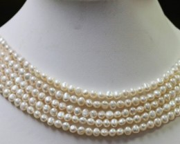 Five   white Baroque  5 mm Natural Pearl strands  GOGO 916