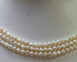 Three  white Baroque 5 mm Natural Pearl strands  GOGO 921