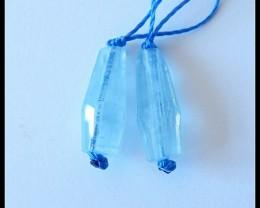 9.5Ct Faceted Blue Aquamarine Gemstone Pair