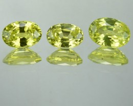 2.17 Cts Natural Lime Green Chrysoberyl Oval Cut 3 Pcs Srilanka Gem