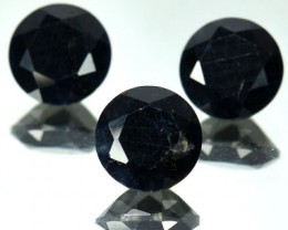5.11 Cts Natural Black Sapphire Round Cut 3 Pcs African Gem