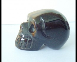 137Ct Natural Tiger Eye Skull Carving,Carved Tiger Eye Statues