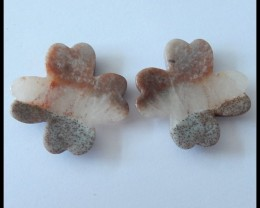 40Ct Natural Amazonite Gemstone Lucky Clover Carving Pair