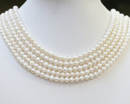 467.40 Five white side drill /round 6 mmNatural Pearl strands  GOGO972