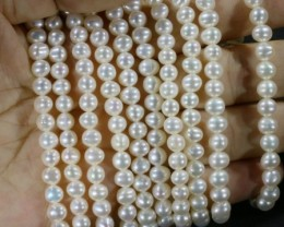 508.20 Five white side drill /round 6 mmNatural Pearl strands  GOGO971