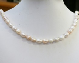 White and pink mix faceted oval 8 mm Natural Pearl strands  GOGO974