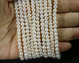 350.45 cts Five White side drill /baroque 4 mm Natural Pearl strands  GOGO9