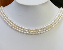200.75 cts Three White side drill /oval 4 mm Natural Pearl strands  GOGO985