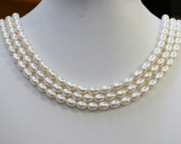 383.60 cts Three White side drill /oval 6 mm Natural Pearl strands  GOGO981