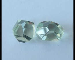 2 PCS Faceted Green Beryl Gemstone,12CT