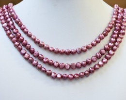 378.50 cts Three Pink (baby) Baroque Pearl strands  GOGO994