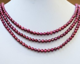 272.20 cts Three Pink (electric) Round Pearl strands  GOGO1000