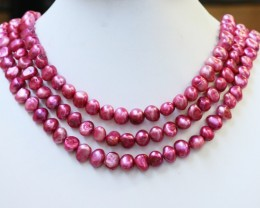 612.70 cts Three Pink Hot Baroque Side Drill  Pearl strands  GOGO1037